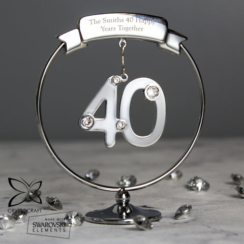 Personalised Crystocraft 40th Celebration Ornament