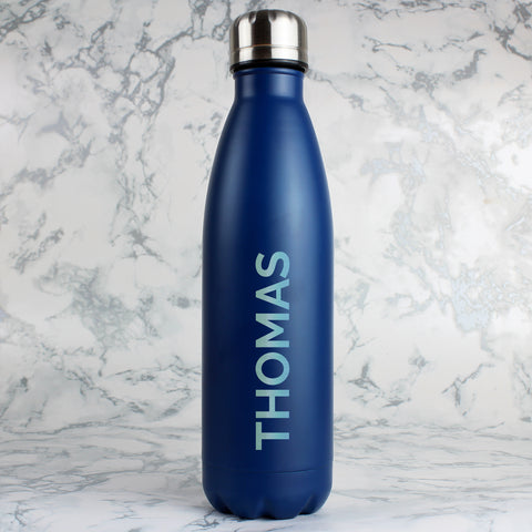 Personalised Bold Name Blue Metal Insulated Drinks Bottle
