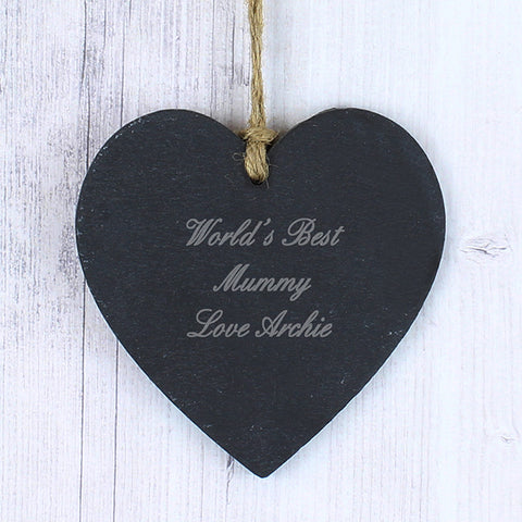 Buy Personalised Script Engraved Slate Heart Decoration