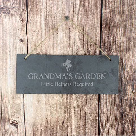 Personalised Flower Motif Hanging Slate Plaque