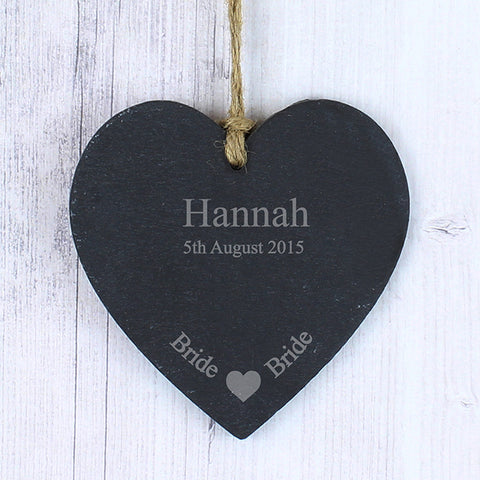 Buy Personalised Bride Slate Heart Decoration