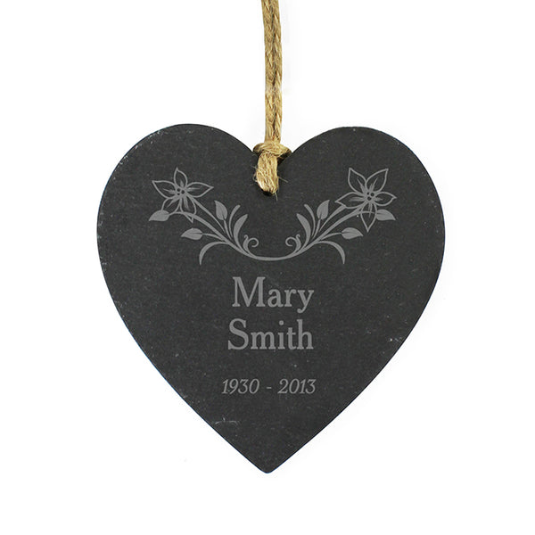 personalised-in-loving-memory-floral-slate-heart