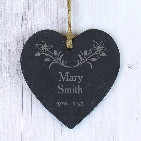 Personalised In Loving Memory Floral Slate Heart | ShaneToddGifts.co.uk