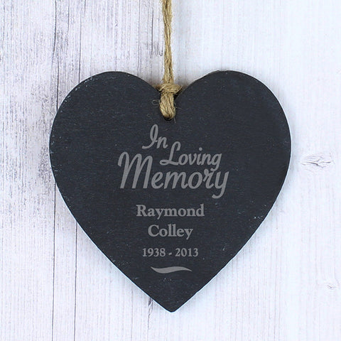 Personalised In Loving Memory Slate Heart - Shane Todd Gifts UK
