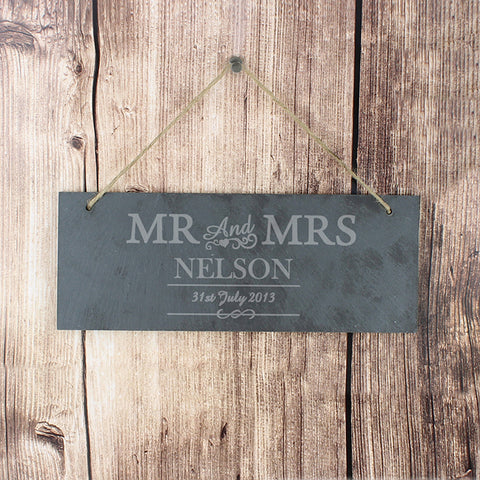 Personalised Mr & Mrs Hanging Slate Plaque