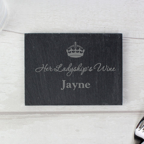 Buy Personalised Crown Motif Single Slate Coaster
