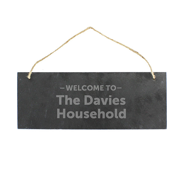 Personalised Welcome To... Hanging Slate Plaque