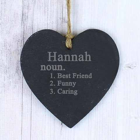 Buy Personalised Word Definition Slate Heart Decoration