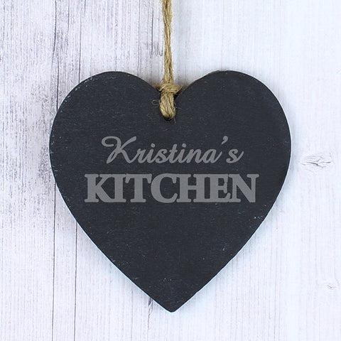 Personalised Kitchen Slate Heart - Shane Todd Gifts UK