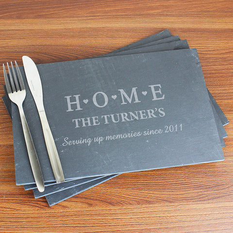 Personalised HOME Slate Rectangle Placemat 4 Pack | ShaneToddGifts.co.uk