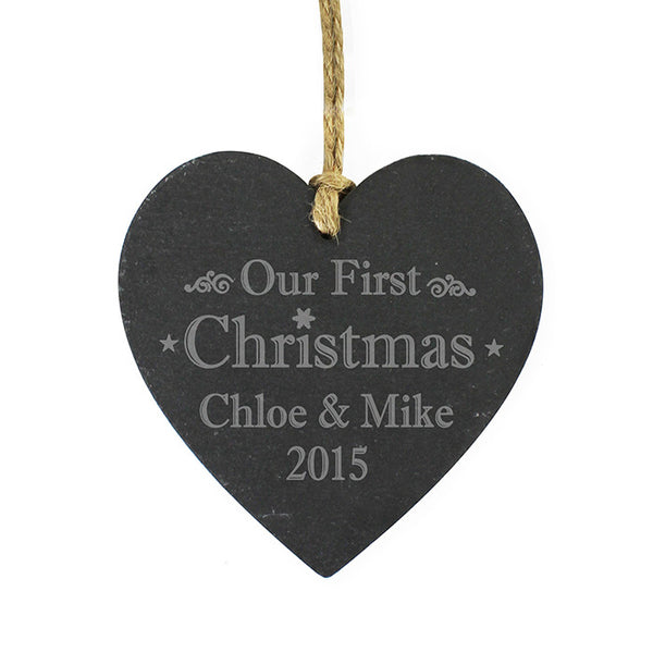 personalised-our-first-christmas-slate-heart