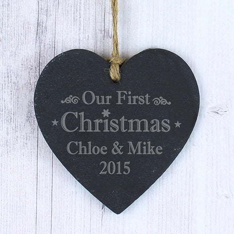 Buy Personalised Our First Christmas Slate Heart