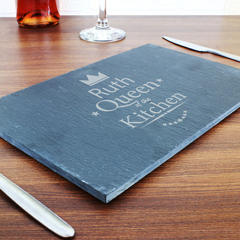 Buy Personalised Queen of the Kitchen Slate Cheeseboard