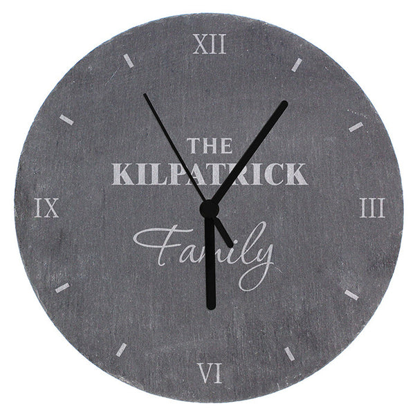 Buy Personalised Family Slate Clock