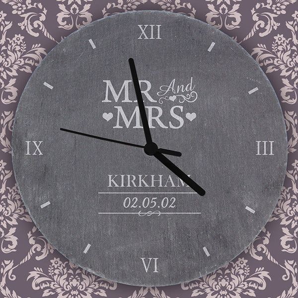 personalised-mr-mrs-slate-clock