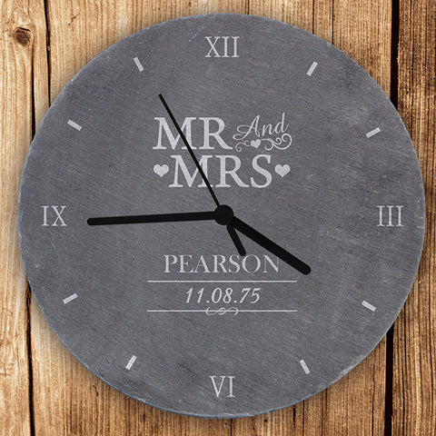 Buy Personalised Mr & Mrs Slate Clock
