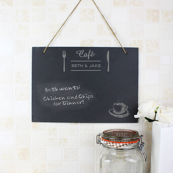 Personalised Bistro Hanging Slate Sign