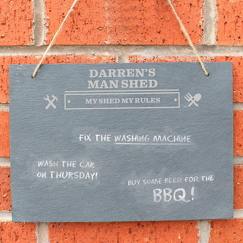 Buy Personalised Man At Work Hanging Slate Sign