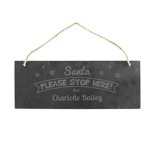 personalised-santa-please-stop-here-hanging-slate-plaque