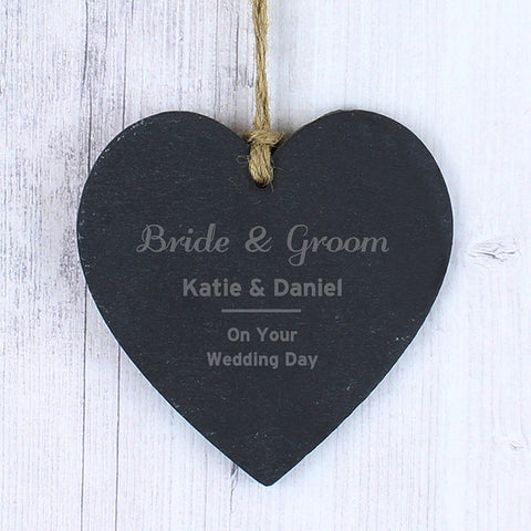 Buy Personalised Classic Slate Heart Decoration