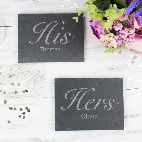 Buy Personalised His and Hers Slate Coaster Set