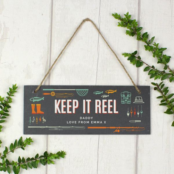 "Personalised """"Keep It Reel"""" Printed Hanging Slate Plaque"