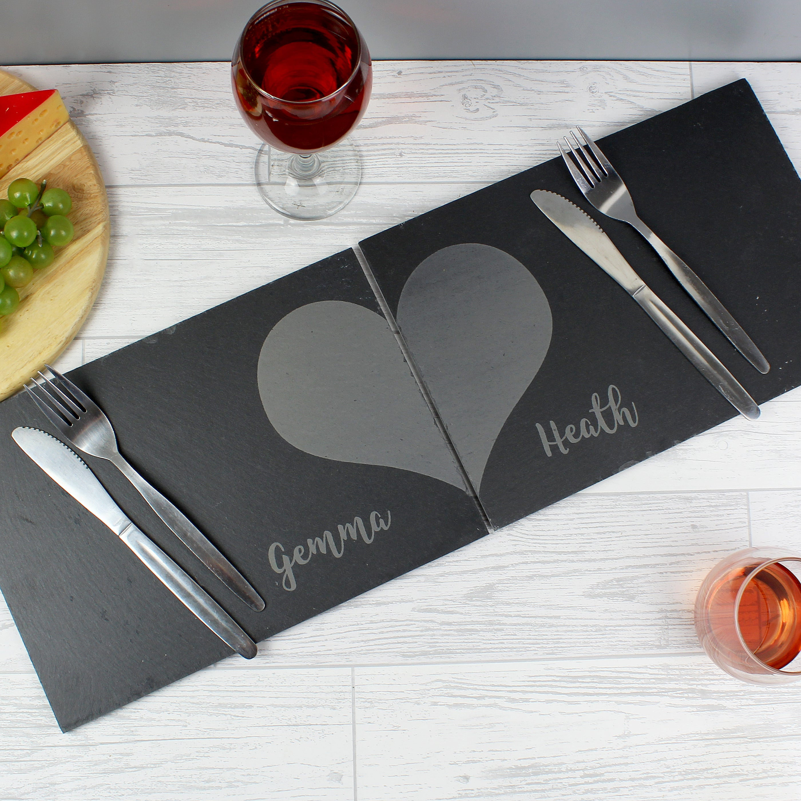 Personalised Two Hearts Slate Placemat Set, Linens & Bedding by Low Cost Gifts