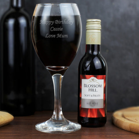 Personalised Red Wine & Wine Glass Set