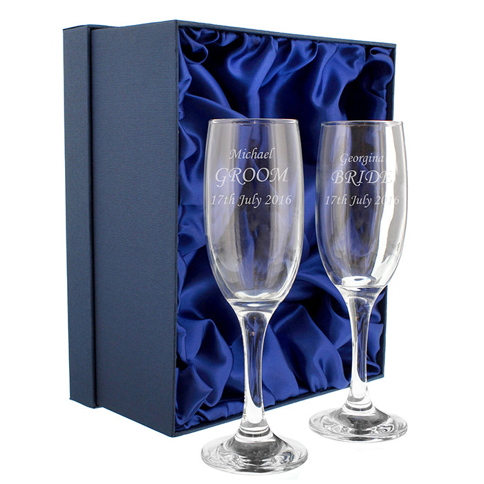 Personalised Celebration Pair of Flutes with Gift Box, Arts & Entertainment by Low Cost Gifts