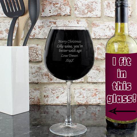 Buy Personalised Bottle of Wine Glass