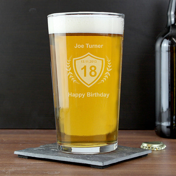 Personalised Age Crest Pint Glass