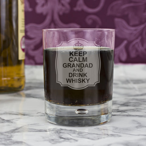 Personalised Keep Calm Tumbler Bubble Glass | ShaneToddGifts.co.uk