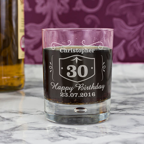 Personalised Classic Whisky Style Tumbler Bubble Glass