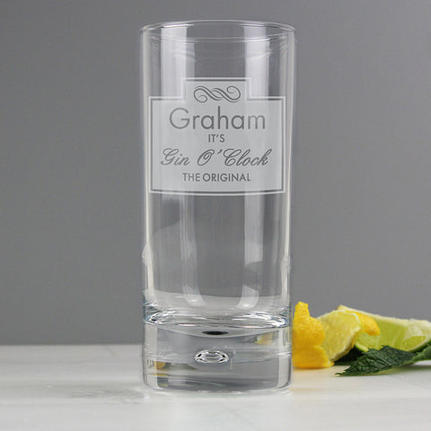 Buy Personalised Gin O'Clock Hi Ball Bubble Glass