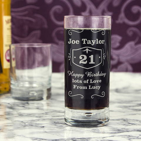 Personalised Classic Whisky Hi Ball Bubble Glass - Shane Todd Gifts UK