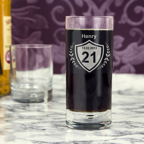 Personalised Age Crest Hi Ball Bubble Glass | ShaneToddGifts.co.uk