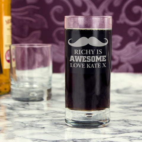 Buy Personalised Moustache Hi Ball Bubble Glass