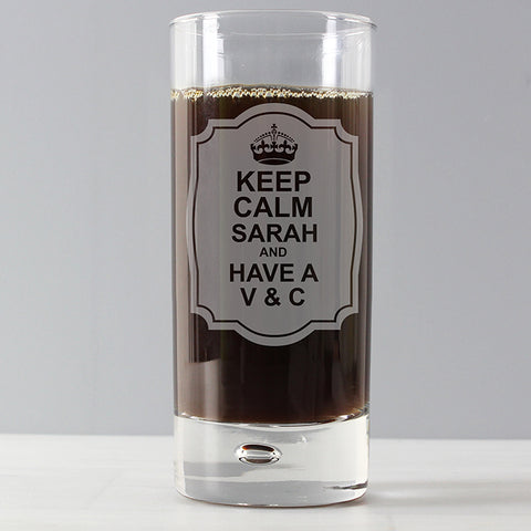 Buy Personalised Keep Calm Hi Ball Bubble Glass