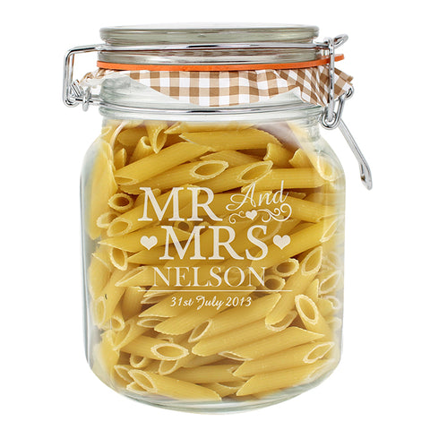 Personalised Mr & Mrs Glass Kilner Jar