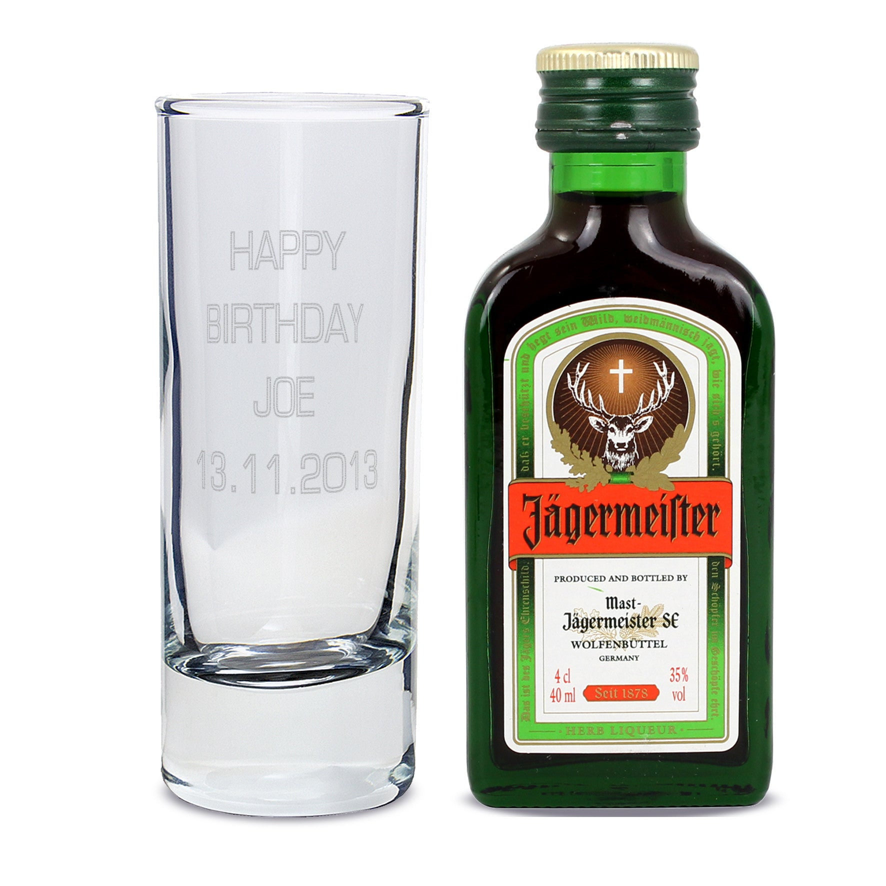 Personalised Shot Glass and Miniature Jagermeister - Text Only, Home & Garden by Low Cost Gifts