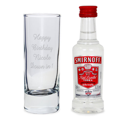 Buy Personalised Shot Glass and Miniature Vodka Set - Text Only