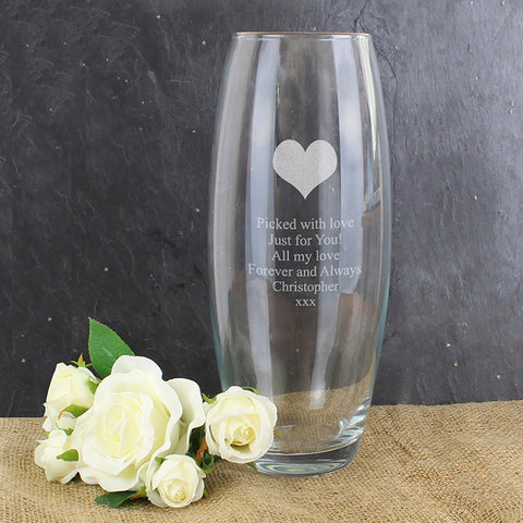 Personalised Heart Bullet Vase - Shane Todd Gifts UK
