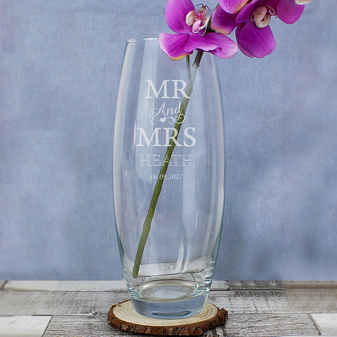 Personalised Mr & Mrs Bullet Vase - Shane Todd Gifts UK