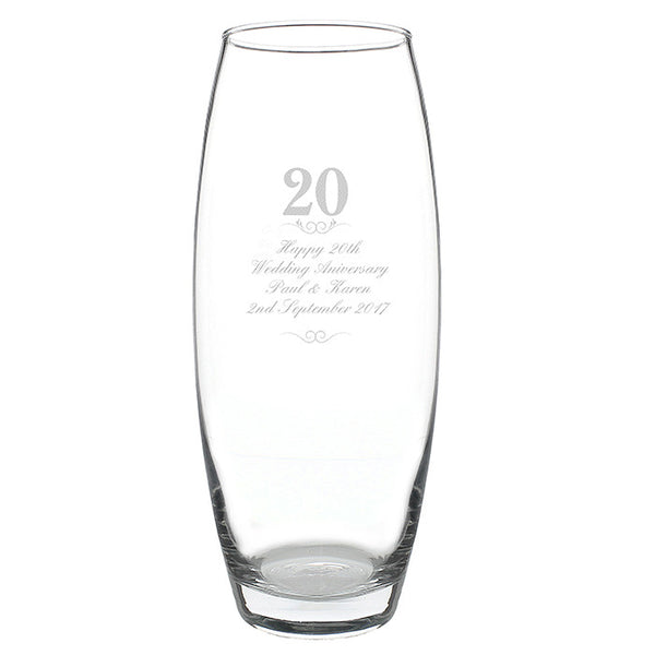 Personalised 20 Years Bullet Vase - Shane Todd Gifts UK