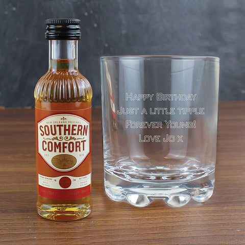 Buy Personalised Whisky Glass & SoutHern Comfort Miniature Set