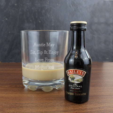 Buy Personalised Whisky Glass & Baileys Miniature Set