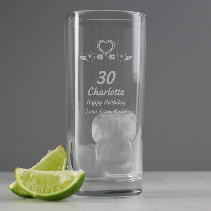 Personalised Birthday Craft Hi Ball Glass, Kitchen & Dining by Gifts24-7