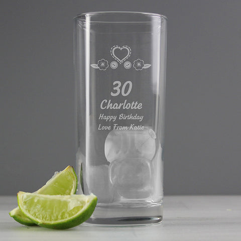 Personalised Birthday Craft Hi Ball Glass | ShaneToddGifts.co.uk