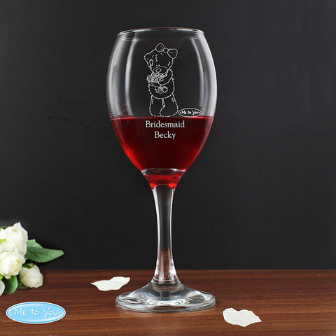 Personalised Me To You Wedding Female Wine Glass