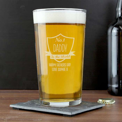 Personalised No.1 Shield Pint Glass